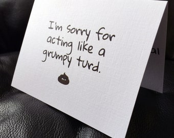 75% Off! Buy 2 Get 1 Free! Sorry for being a turd funny apology card