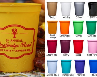 Personalized Stadium Cups for Crawfish Boil/Crab or Lobster Bake  {16 oz}