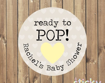 Personalized Ready to Pop Stickers, Baby Shower Stickers, Ready to Pop Labels, Baby Shower Favor Stickers, Ready to Pop, Popcorn Favors