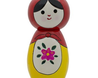 "4.25"" Japanese Kokeshi Wooden Doll- SKU # NWD003-R"