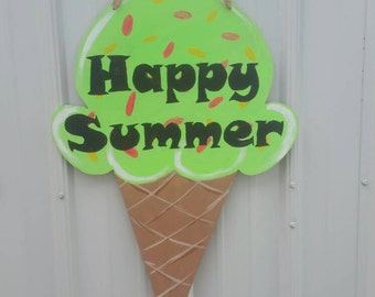Cute Summer ice cream door hanger