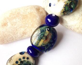 3 Organic Window Pendant / Focal Lampwork Beads SRA