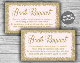Pink Gold - Baby Shower - Book Request - Cards - Printable - Baby Book Card - Please Bring A Book Instead of A Card - Instant Download - 093