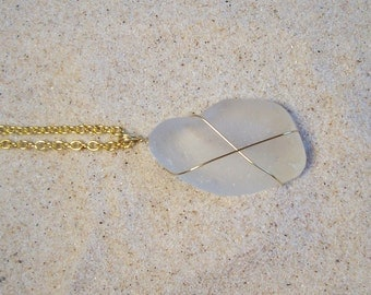 Jewelry, Necklace, Lake Superior Sea Glass, White, Opaque, Gold, Beach Wedding, Seaglass, Gifts for Women, Gifts.