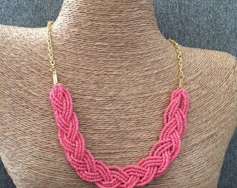 Braided coral necklace, coral bib necklace, coral statement, statement necklace, coral bridesmaids, guava necklace, salmon, prom necklace