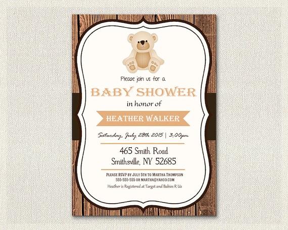 Baby Shower Invitation Teddy Bear Theme Wooden Rustic Baby Invite