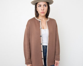 Vintage Austrian Cardigan/ Brown Knit Sweater/ Vintage Coin Buttons/ 1960s
