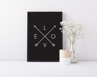 Love/Arrows A4 black and white home decor typographic print