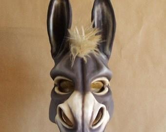 Donkey mask with hemp-fibre mane