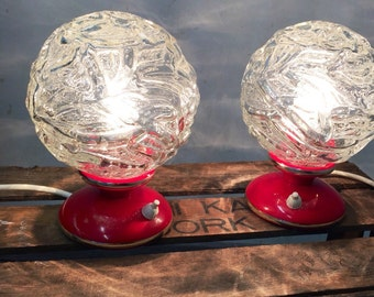 Set with 2 bedside lamp 70s vintage ball red glass