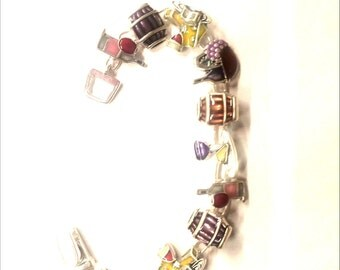 Wine and cheese lovers bracelet