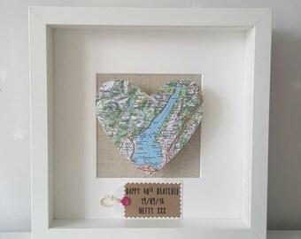 Heart Map Frame/ Map Frame/ Framed Map/ Gifts for Couples/ New Home Gift/ Wedding Gift/ Engagement Gift/ Anniversary Gift /Wedding Frame