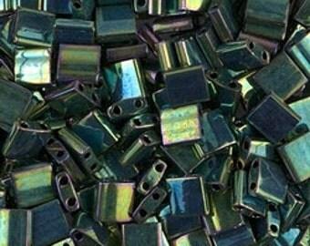 Tila Bead- Metallic Malachite Green Iris  #468  Miyuki Tila Beads - 10 grams