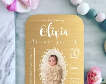 Gold Baby Birth Announcement | Custom Infographic | Personalised Digital File 5x7 | E