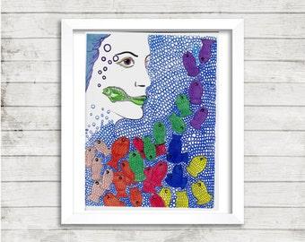 Girl Art, Fish Art, Trippy Psychedelic Drawing, Bubble Art, Mixed Media Drawing, Print