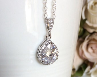 Sterling silver wedding necklace cubic zirconia teardrop bridal necklace, sterling silver bridal necklace, bridal jewelry, wedding jewellery