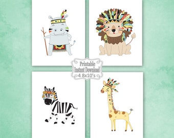 Printable Tribal Jungle Safari Animals Nursery Wall Art Decor Lion Zebra Giraffe Hippo Baby Child Kids ~ DIY Instant Download 4 8x10 Prints