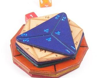 Gaming dice leather coasters, D&D dice, D20, D12, D10, D10 Percentile, D8, D6 and D4