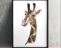 Watercolor animal art Cute giraffe print Nursery poster ACW169