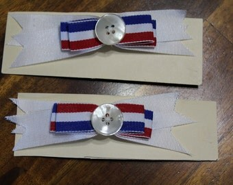 Red, White and Blue Hair Barrette Set