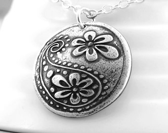 Silver Paisley Pendant Necklace Silver Sterling Silver Flower Charm Necklace Bohemian Jewelry Paisley Silver