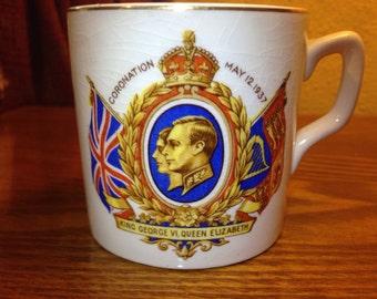 Vintage 1937 King George VI and Queen Elizabeth Coronation Tea Cup