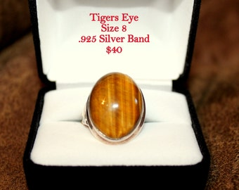 Tigers Eye .925 Silver Band Size 8