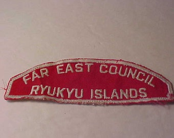 Far East Council Patch OA Japan Ryukyu Islands  Red and white Council Shoulder Emblem 1960's Free Shipping