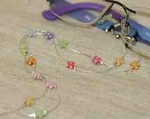 Eyeglasses Chain, Silver Color Eyeglasses Chain, Handmade Eyeglasses Flowers Chain, Delicate Chain ,Free Shipping,