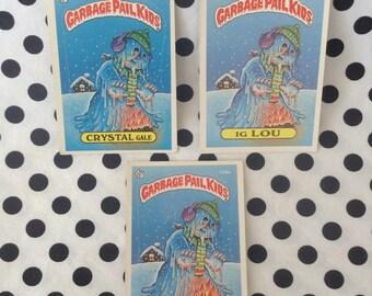 C1980's~Garbage Pail Kids Trading Cards~Meltin Elton~Ig Lou~Crystal Gale~158a~158b~