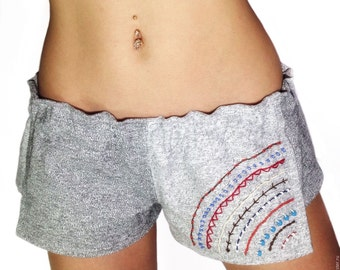 Beach shorts with ethnic embroidery