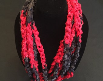 Red and Black Crocheted Rope Scarf
