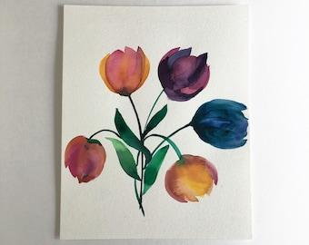 8x10 Watercolor Tulips