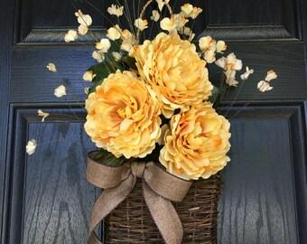 Yellow peony summer or fall door hanger basket - wreath alternative