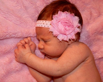 Pink Shabby Flower Headband