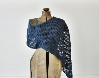 Blue Knit Shawl