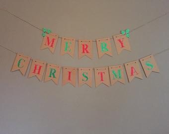 Glitter Merry Christmas Banner