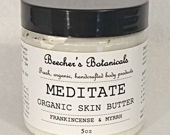 MEDITATE Frankincense & Myrrh Organic Skin Butter   Organic Body Butter