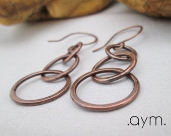 3 ring copper earrings, hand forged dangle earrings, hammered antique copper earrings, gift for her, wife, mom, sister, stocking stuffer