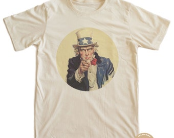 Vintage Poster Uncle Sam wants you Organic T-shirt 100% Organic Cotton