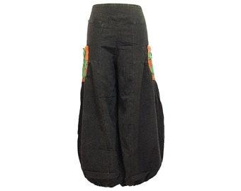 Boho Hippie Gypsy 2-Pocket Elastic Leg Opening Long Pants (F1142)