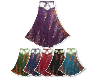 Boho Hippie Crochet Waist Floral Print Crinkle Rayon Long Skirt N2042X