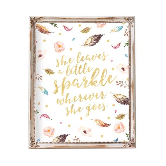 She Leaves A Little Sparkle Wherever She Goes, Baby Gift, Girl Nursery Art, Nursery Wall Art, Printable Quote, Tribal Nursery Art, Baby Art