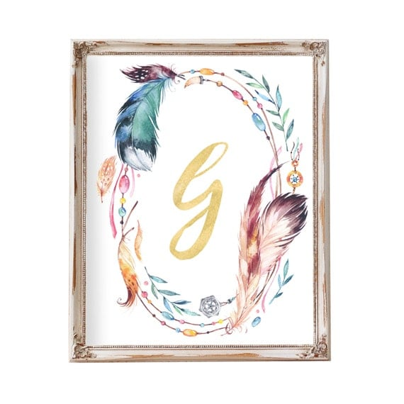 Tribal Nursery Art, Feather Art, Boho Art, Monogram Wreath, Monogram Wall Decor, Feather Wreath, Wreath Art, Nursery Art, Nursery Decor