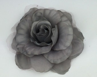 Silver Grey Rose Flower Corsage Brooch On Clip Hair Fascinator Hair Clip Wedding Event