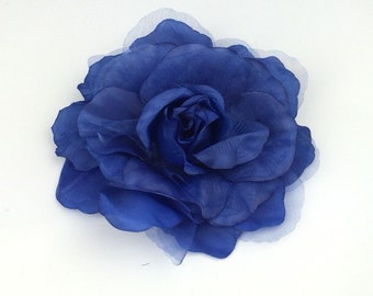 Blue Rose Flower Corsage Brooch On Clip Hair Fascinator Hair Clip Wedding Event
