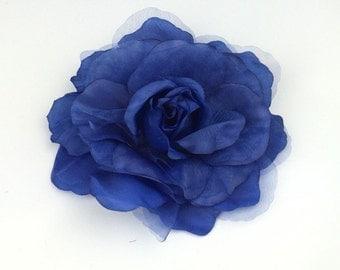 Blue Rose Flower Corsage Brooch On Clip Hair Fascinator Hair Clip Wedding Event
