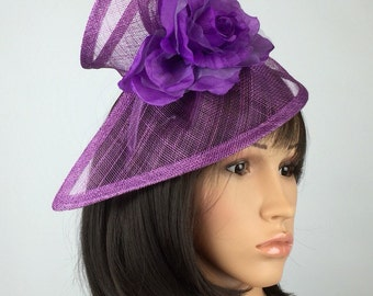 Purple Fascinator Sinamay adorned with flower Hatinator Formal ascot Aintree Ladies Day Horse Races weddings occasion