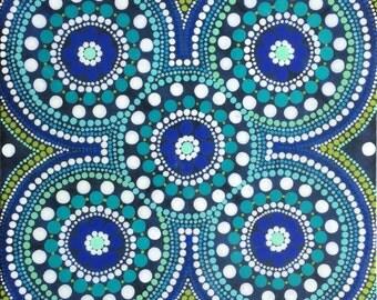 Blue & Green Aboriginal Dot Painting
