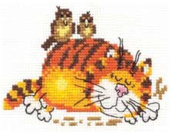 Cross Stitch Kit Lazy Cat